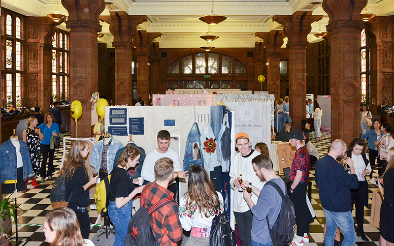 Students at the Fashion Business Degree Show 2017 in the Sackville Street Building