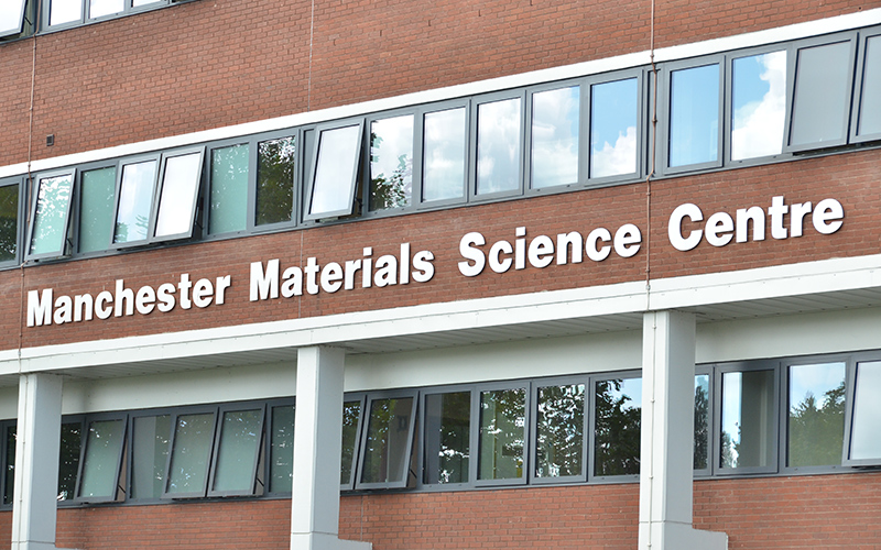 Manchester Materials Science Centre signage on the outside of the building