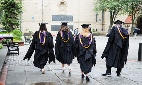 Graduates walking together