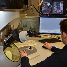 A researcher using equipment in the Electron Microscopy Centre