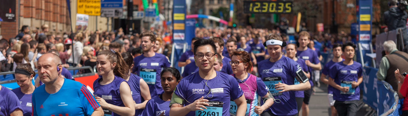 The Purple Wave - students and staff at the Manchester 10K run