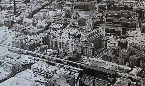 Black and white old aerial image of the University's North campus